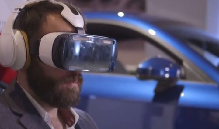 A customer visits the Audio showroom to experience a fully immersive virtual reality test drive and 360° tours of the new third generation Audi TT using the Samsung Gear VR.