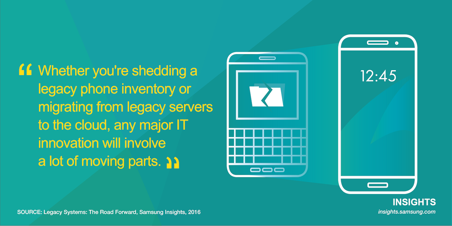 Whether you're shedding a legacy phone inventory or migrating from legacy servers to the cloud, any major IT innovation will involve a lot of moving parts.